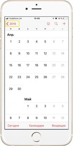 Вид календаря в iPhone